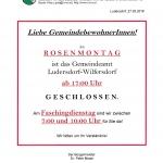 Gemeindeamt Rosenmontag ab 17 Uhr u. Faschingdienstag ab 10 Uhr geschlossen