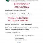 Gemeindeamt 7 – 14 Uhr geschlossen