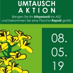 Altspeiseöl Umtauschaktion am 08.05.2019